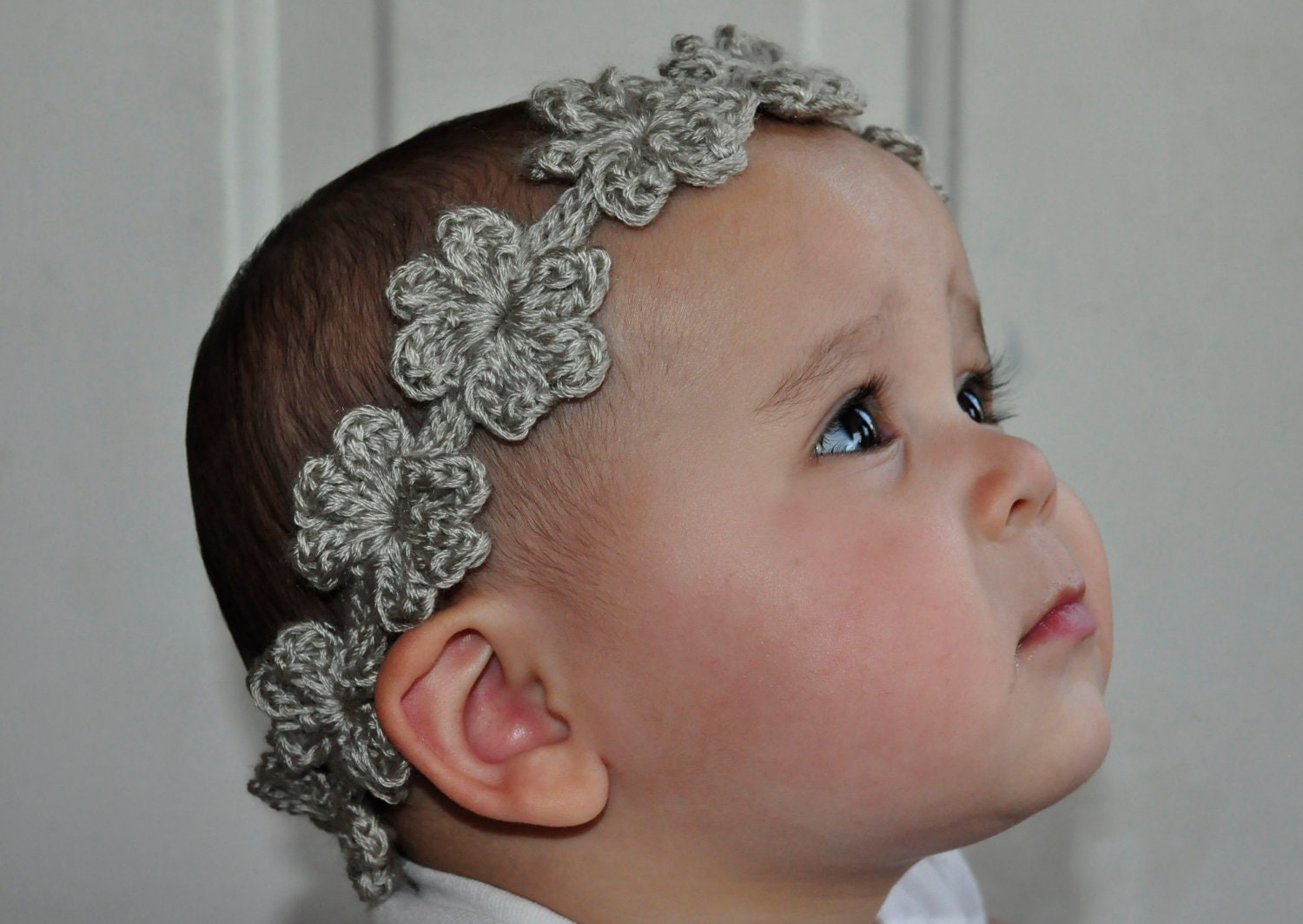 Crochet Headband Pattern Newborn : Crochet Pattern PDF Headband / Bracelet Flower Garland