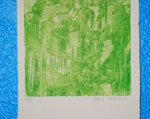 green etching, printmaking zinc plate, abstract art, small print, fine art, earth tones, fall colors