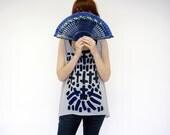 Geometric Cross Printed Sheer Tank Top Shirt Occult Print Gray Chiffon Tunic Blue and Black Print