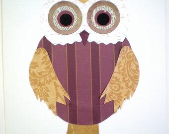 Owl Art / Childrens Wall Decor / 8x10 Ready to Frame / Nursery Decor