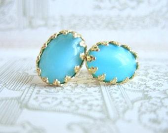 Turquoise Earrings Studs Wedding Bridesmaids Gift Earrings Set Aqua Moonstone Vintage Glass Something Old MS1