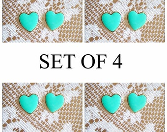 Bridesmaids Earrings Set of 4 Lot of 4 Mint Green Wedding Bridal Jewelry Studs Gold Post Bridesmaid Gift Heart Earrings Studs 15% OFF HS1