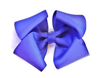 royal blue hair bow--3.5 inch baby toddler big girl boutique hair bow clip accessorie-holiday and christmas bows