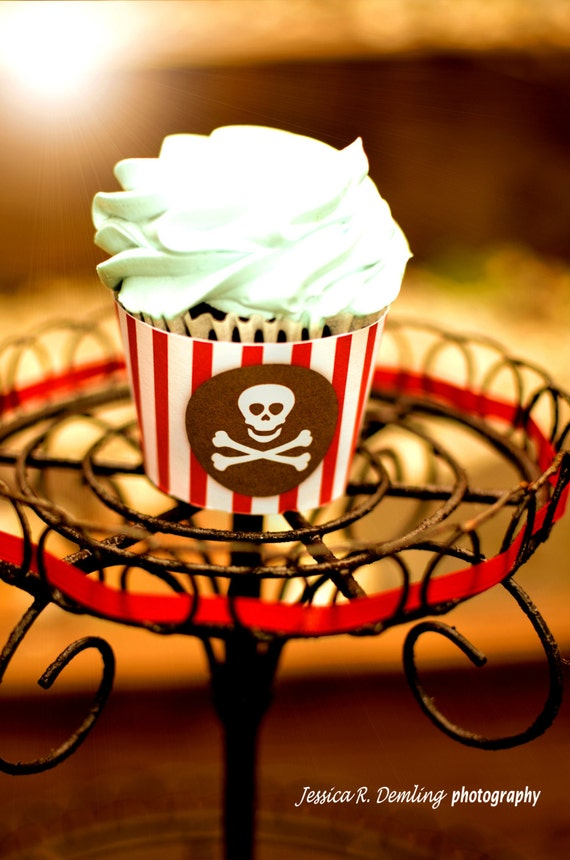 Pirate Party - Cupcake wrappers - INSTANT DOWNLOAD - Printable PDF