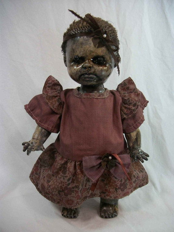 Creepy Zombie Doll Baby Cakes One Kind Altered Art Ghoul Freaky