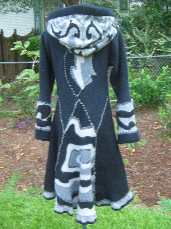 Reconstructed felted wool sweater coat hoodie pixie black gray slate big skirt woman size small eco OOAK