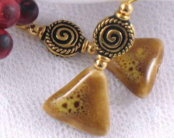 Brown and Honey Gold Speckled Ceramic Bead Earrings - Gold Swirl Bead - Geometric - Gifts under 15
