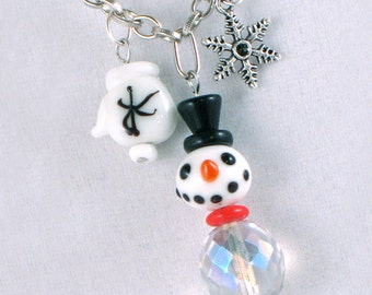 Hand-painted Glass and Crystal Snowman Necklace - White Mitten and Snowflake - Holiday - Winter - Gifts Under 25