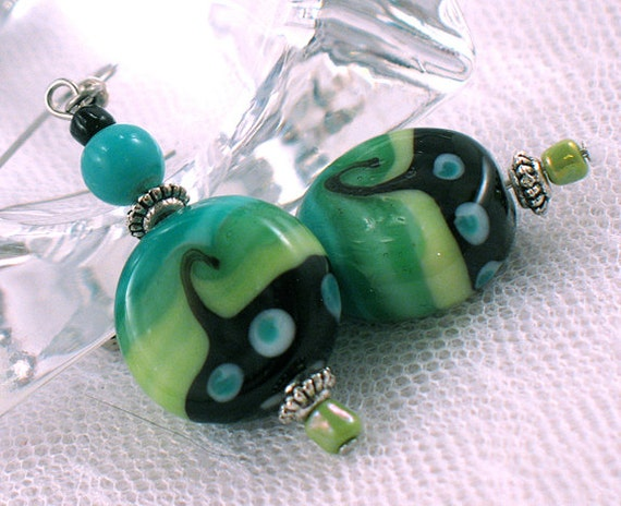 Round Lampwork Bead Earrings - Aqua and Green Stripes with Black Swirls - Neon - Spring - Gifts Under 20