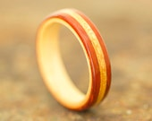 Padauk Wood Ring with Maple Liner and Quartersawn Elm Inlay - Bentwood Ring - And We Plant A Tree:)