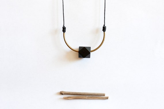RESTOCK geometric, tribal, brass, black wood, czech beads and black rope, long, beaded necklace