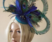 Curled Peacock Fascinator Hatinator - Feathers Cluster with Graduated Crinoline and Swarovski Pearls Blue Green - No.1 on Google!