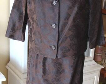 3-piece 60's SATIN JACQUARD skirt SUIT brown ivory roses mendel L