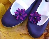 violet dahlia / purple navy blue summer flower wedding trends ballet flats shoes jarmilki woman violet poletsy fashion gift felt handmade