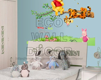 PEEL and STICK Kids Nursery Removable Vinyl Wall Sticker Mural Decal Art -  Winnie the Pooh Tigger sitting on the branch II
