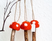 Felted Mushroom Ornaments with Twine Hangers - Set of 3 Red Felted Waldorf Toadstools Upcycled Woodland Waldorf Inspired Rustic Christmas