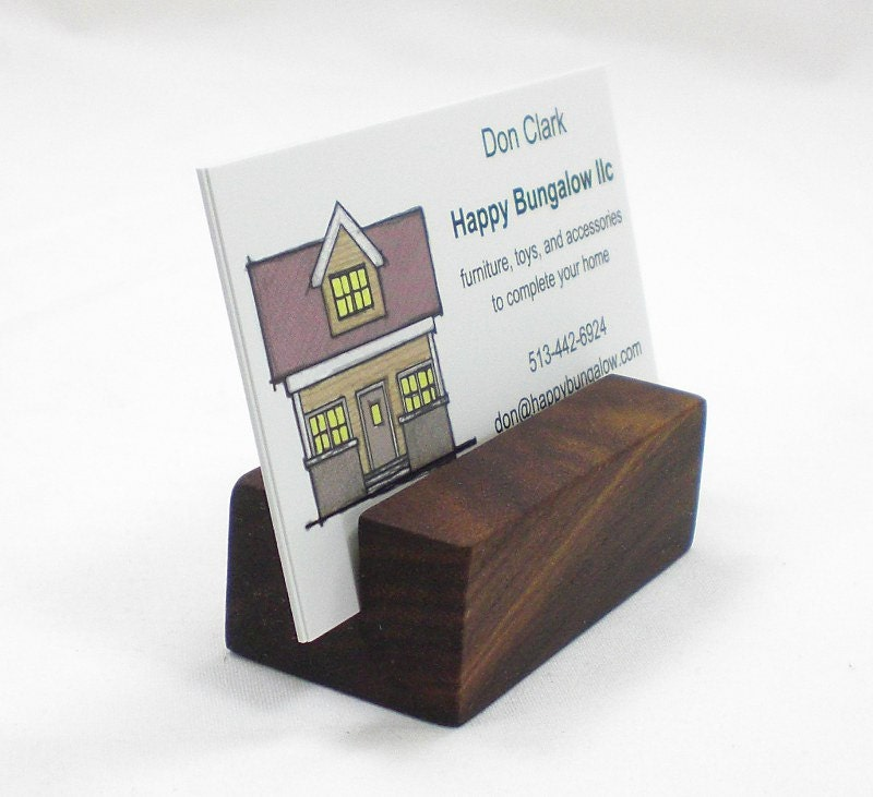 Business card holder wooden card holder wood by happybungalow for Wood business card holder plans