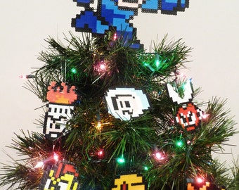 Mega Man Perler Bead Christmas Tree Topper Set (7 Piece) - nintendo