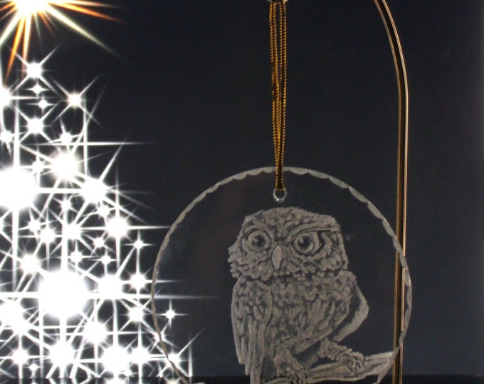 owl christmas ornament engraved glass