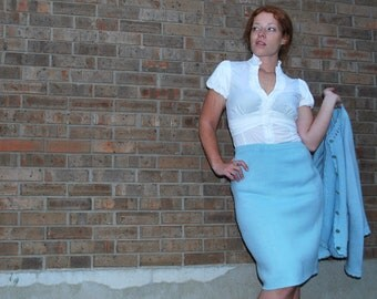 Water Cooler Gossip 1960s Vintage Mad Men Style Sky Blue Two Piece Knit Sweater Pencil Skirt Suit Set Sz Medium