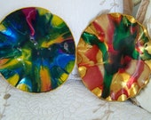 """Vintage 60's  """"PSYCHEDELIC WALL PLAQUES""""  With Inset Loop Catches."""