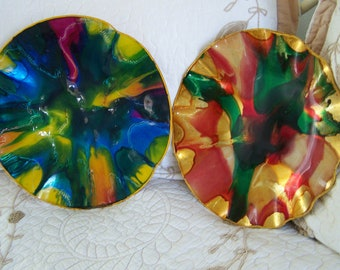 "Vintage 60's  ""PSYCHEDELIC WALL PLAQUES""  With Inset Loop Catches."