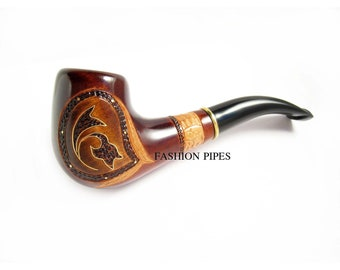 Collectible Inlaid Smoking Pipe of Pear Carving Handmade. Exclusive Design Brass Inlay and Engraving & Pouch Gift