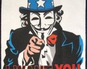 Printed Sew On Patch - Large Back UNCLE SAM V -  Occupy your Country