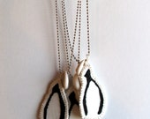 Wishbone necklace embroidered pendant on silver ball chain with cowrie shell