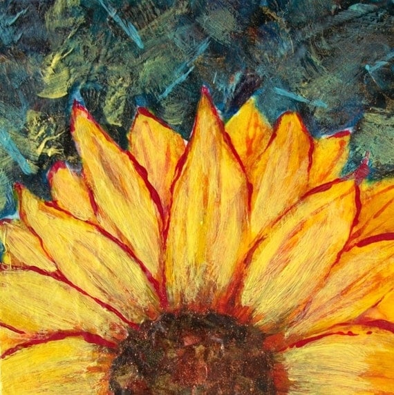 SunFlower,  Hand Torn Paper Collage, Original Mixed Media Collage, 6 x 6, home decor, ready to hang