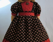 American Girl Doll Clothes  - Dress and Hair Bow in Black and Rust