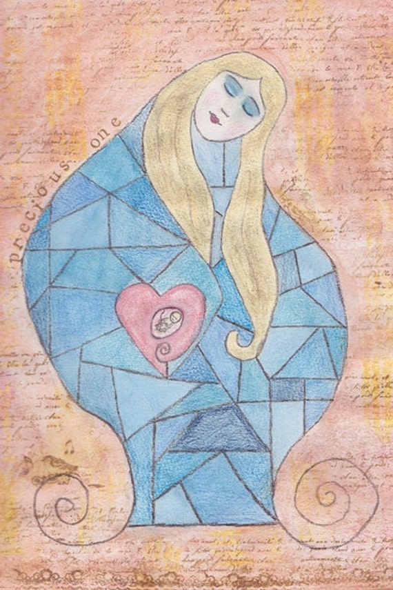 "SALE Maternity Fine Art Print 8"" x 12"" - ""Love Song"" - Mother Baby Nursery Decor, Pregnancy Art, Baby Shower Gift, New Baby"