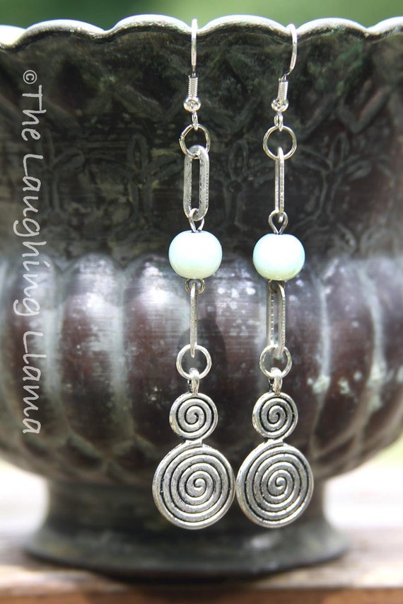 Spiral Labyrinth Beaded Earrings