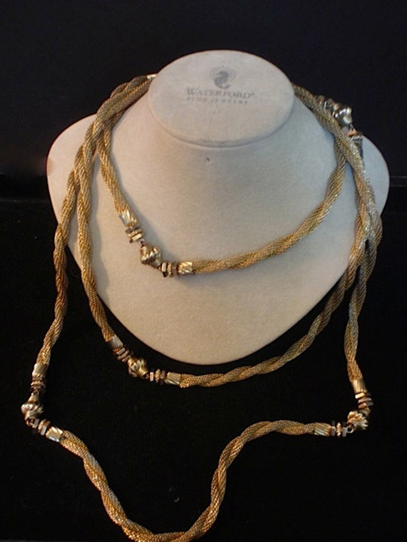 Vintage Monet Goldtone Mesh Necklace Beautiful