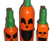 Upcycled Pumpkin Bottles - Halloween Fall Pumpkin Decor - Set of Three