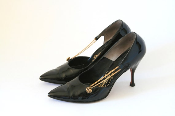 Dominic Romano - Black and Gold Chains - Size 7 - Heels Shoes - 1950's