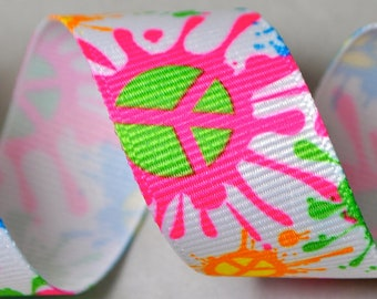 Peace Signs -  3 yards, 7/8 inch wide