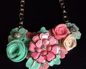 Melon Belle Felt Flower Statement Necklace