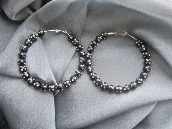 Medium Black Beaded Crystal Hoop Earrings