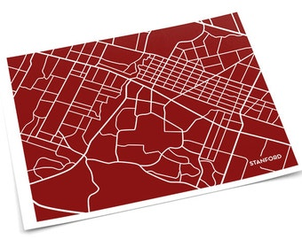 Stanford City Map Wall Print / University Digital Art Poster / 8x10 / Personalized colors