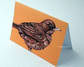 Bird Card (butterscotch) with matching swing tag