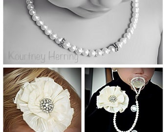 5in1 Convertible Beaded Pearl Pacifier Clip Necklace Bracelet Handmade