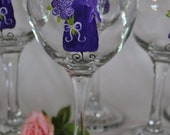 Will You Be My Bridesmaid Royal Blue Purple Bridesmaid Wedding Wine Glasses
