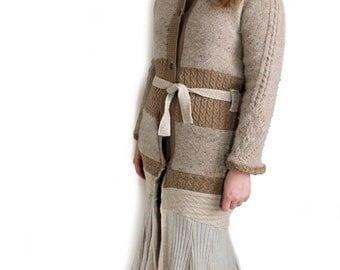 SALE 80% OFF! Upcycled sweater coat, handmade sweater coat, tan, brown, gold,Desert Siren