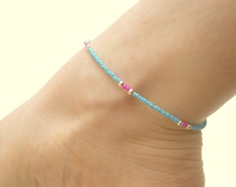 Seed Bead Anklet: Pink and Blue Beaded Anklet, Beach Jewelry, Simple Ankle Bracelet UK