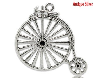 Silver Bike Pendants - Antique - Holds SS16 Rhinestones - LARGE - 50x46mm - 3pcs - Ships IMMEDIATELY  from California - SC379