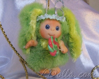 Sweet 16 Birthday  Pink Green Bunny  with Lollipop Cute Baby Doll, Decoration for home,Christmas,  Sweet 16 Party, collectables