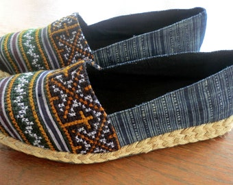 Earthy Womens Vegan Loafer In Hmong Embroidery and Batik - Chloe