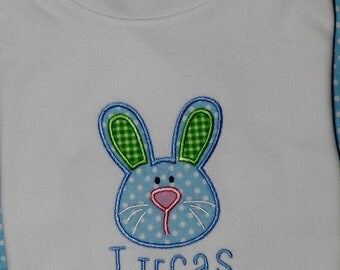 Personalized Blue Easter Bunny Shirt or Bodysuit