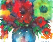 Abstract Flower Bouquet  -  Sale - Sale - Great Gift - FREE SHIPPING -  Fine Art Original Watercolor Painting by ebsq Artist  Ricky Martin